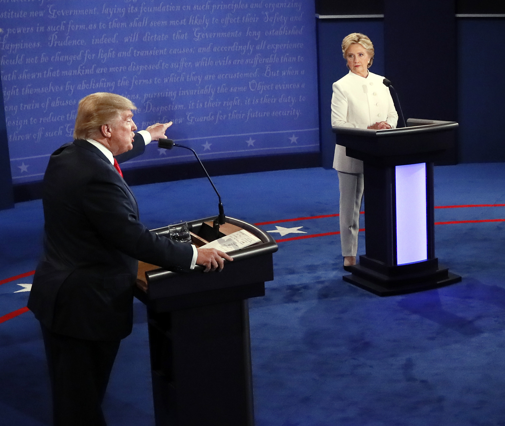 Republican presidential nominee Donald Trump debates Democratic presidential nominee Hillary Clinton during the third presidential debate at UNLV in Las Vegas,on Wednesday.