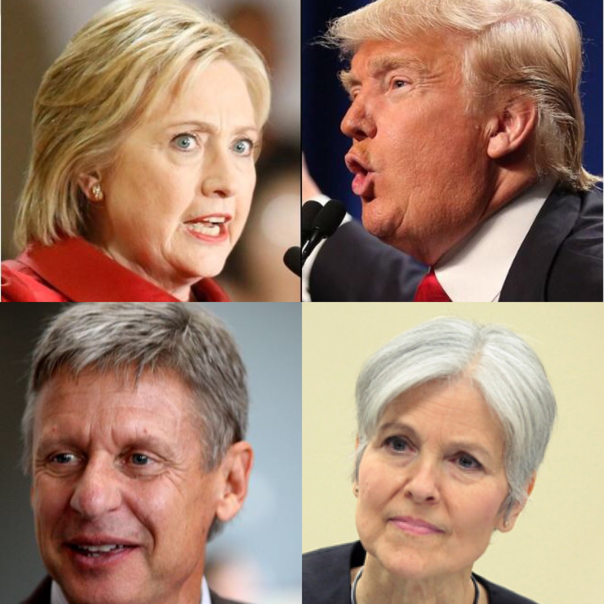 Clockwise from the upper left are presidential candidates: Democrat Hillary Clinton, Republican Donald Trump, Green Party Jill Stein and Libertarian Gary Johnson. PHOTOS BY THE TEXAS TRIBUNE AND GAGE SKIDMORE