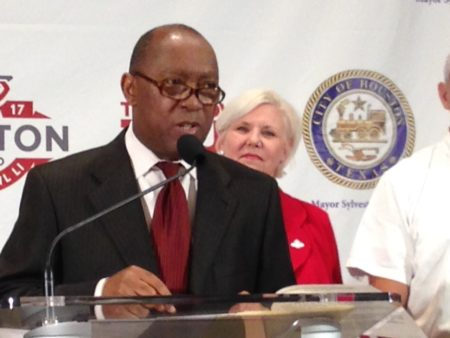 Mayor Sylvester Turner, with Sallie Sargent, president and CEO of the Houston Super Bowl Host Committee