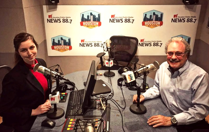 """Mickey Driver (right) poses in the Houston Matters studio with producer Maggie Martin. Driver is the author of """"The Book of Whispers,"""" which is about his son's battle with bipolar disorder."""