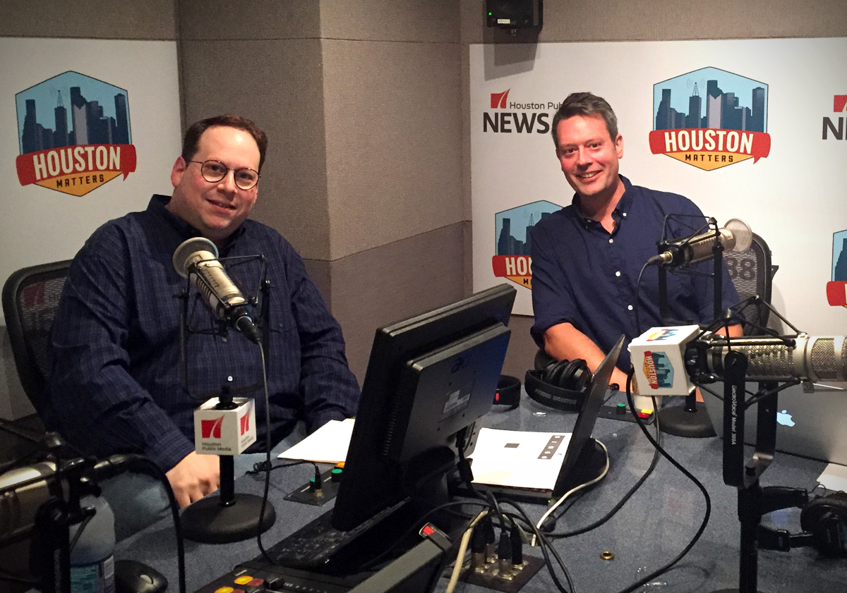 Houston Matters host Craig Cohen and UH Political Science Professor Brandon Rottinghaus in the News 88.7 studios on Election Night 2016. (Photo: Matt Prendergast, Houston Public Media)