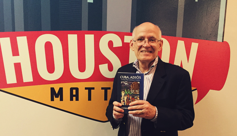 "Houstonian Lorenzo Martinez is the author of ""Cuba, Adios: A Young Man's Journey to Freedom,"" which tells the story of his escape from Cuba as a young man. (Photo: Edel Howlin, Houston Public Media)"
