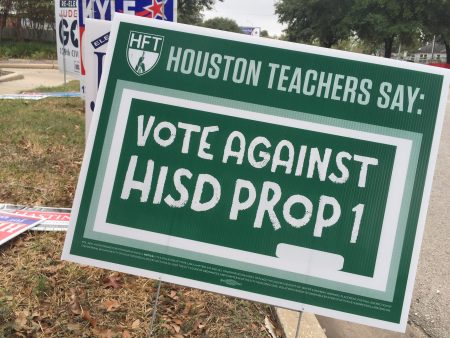 "There was a strong campaign against Proposition 1 in HISD, against sending tax dollars from the district to the state, under the so-called ""Robin Hood"" program."