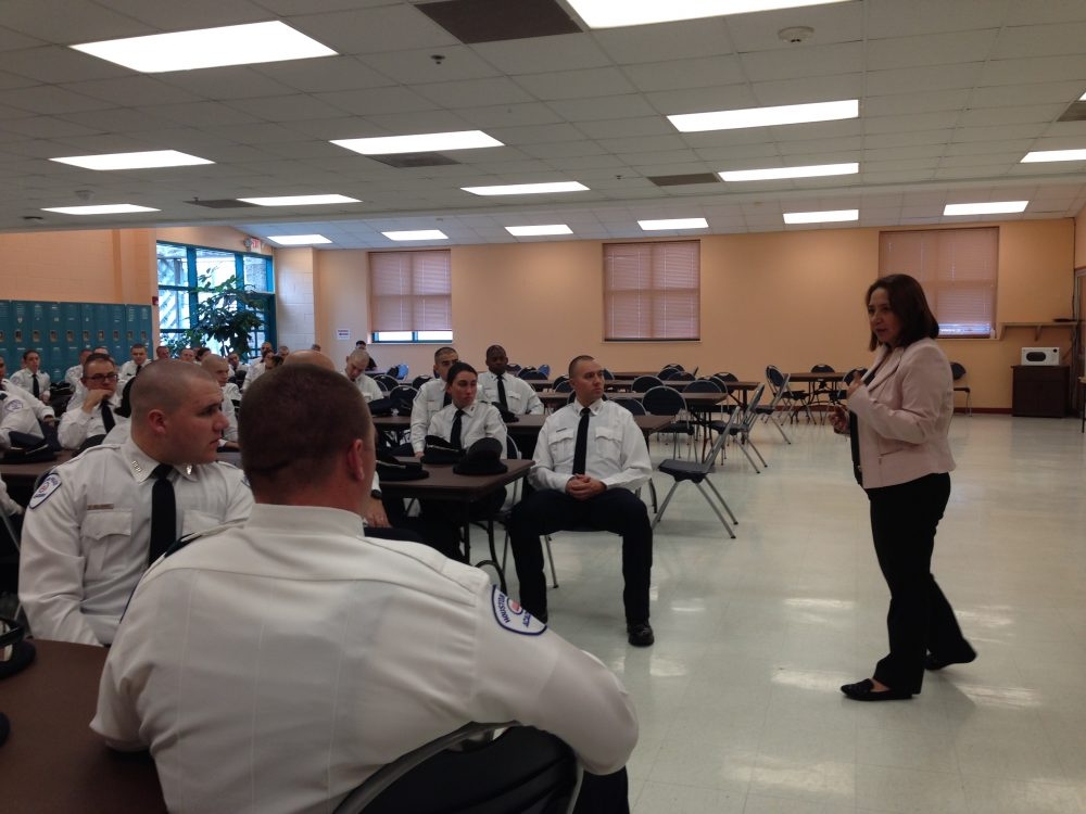 Immigration lawyer Silvia Mintz gave a lecture to cadets from the Houston Police Department when they visited the Denver Harbor Multi-Service Center, which is located in a part of Houston where many residents are immigrants from Latin American countries, as part of HPD's diversity tour initiative.