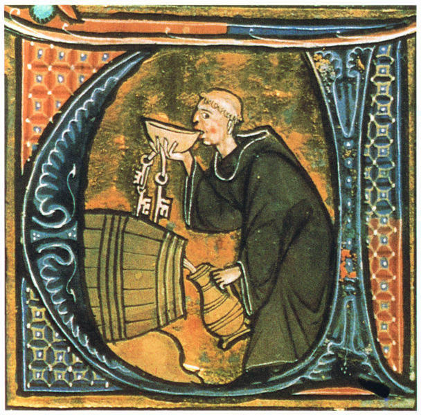 An abbey cellarer testing his wine. Illumination from a copy of Li livres dou santé, late thirteenth century