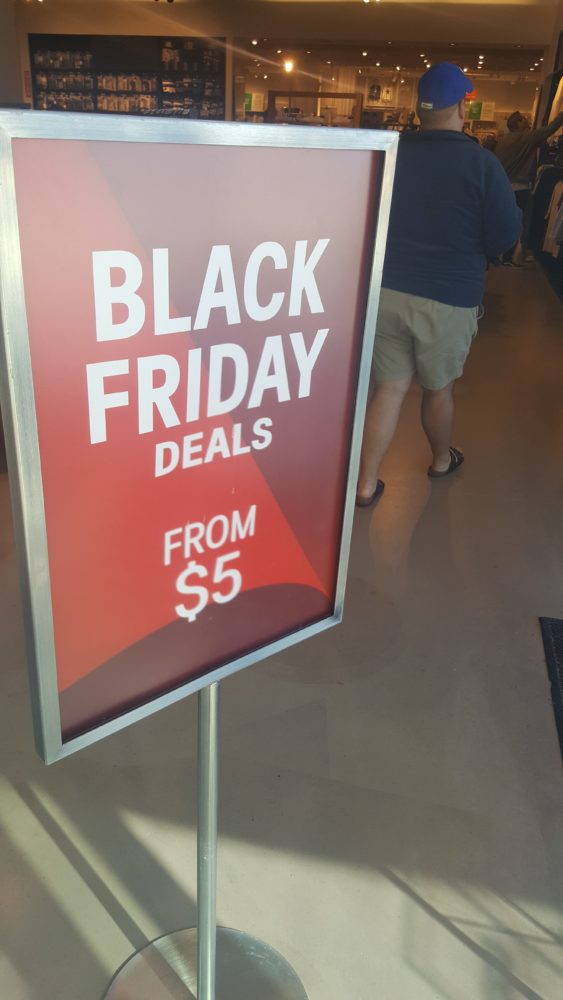 A Black Friday sign in the mall one week before Black Friday.