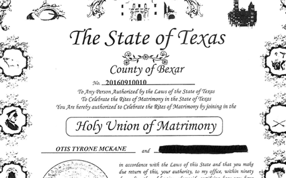 Copy of marriage certificate obtained from Bexar County Clerk's office