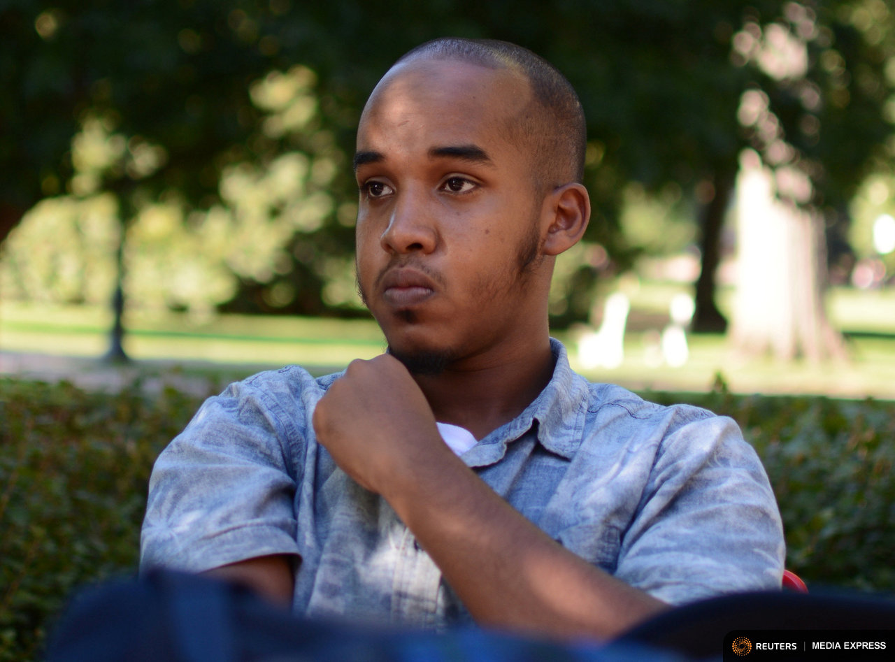 Abdul Razak Artan, a third-year student in logistics management, sits on the Oval in an August 2016 photo provided by The Lantern, student newspaper of Ohio State University in Columbus, Ohio, U.S. on November 28, 2016.