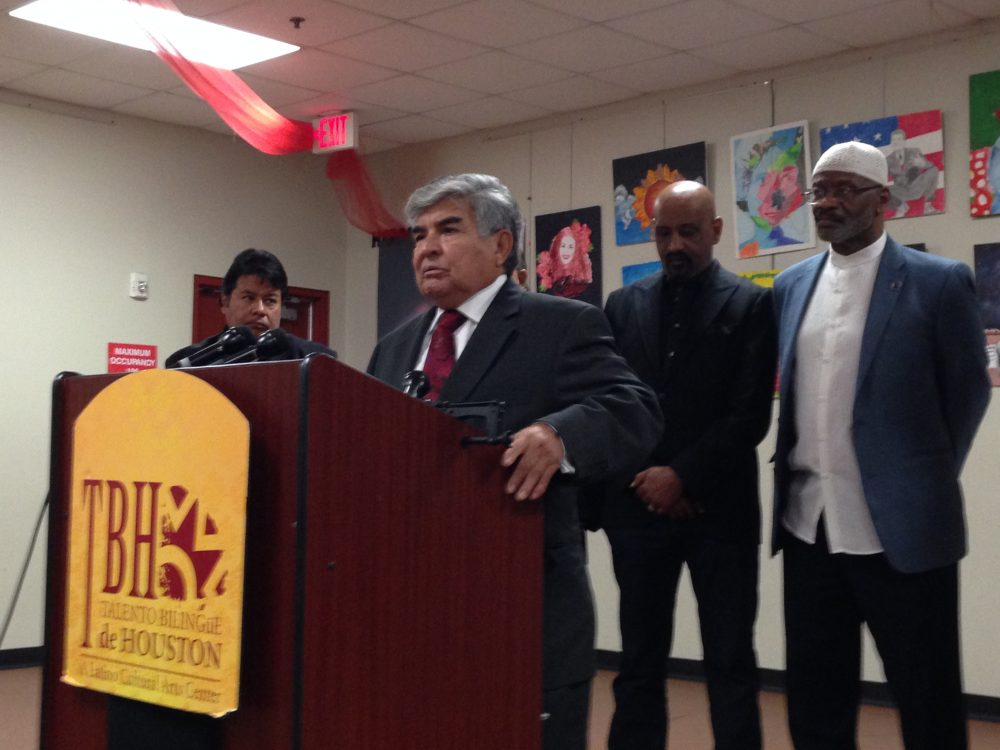 Johnny Mata, of the Greater Houston Coalition for Justice,  and other members of the organization held a press conference in Houston to express their concern about some potential measures Donald Trump could implement as President, such as the deportation of undocumented immigrants.