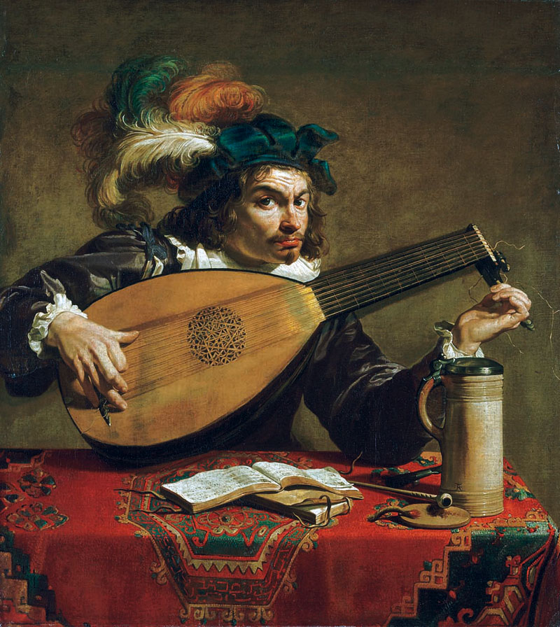 Painting of a lute player