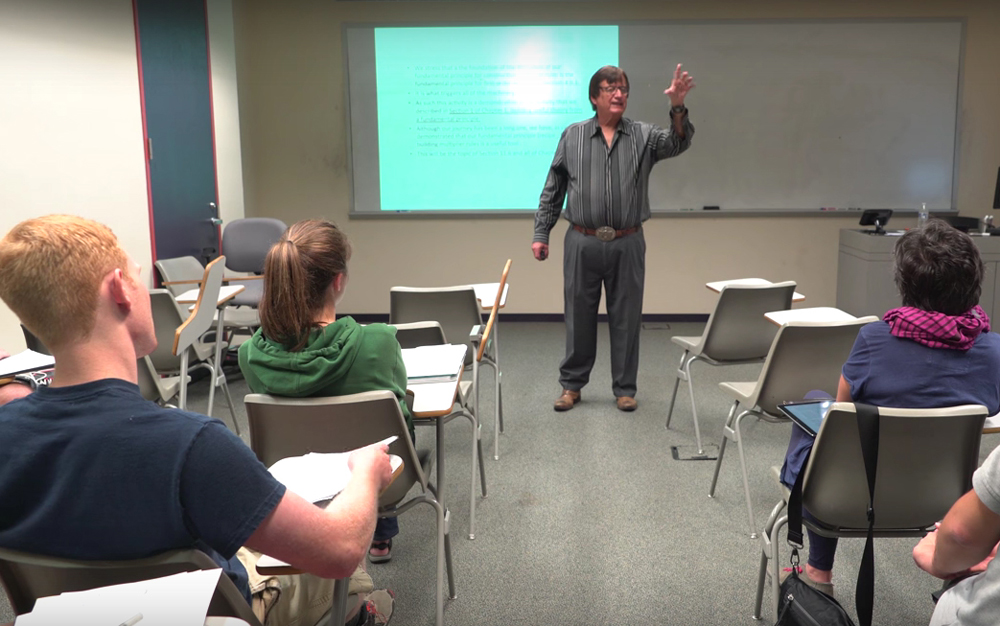 Mathematician Dr. Richard Tapia of Rice University teaches a class. Tapia (Photo Courtesy Rice University Video/via Screen Capture)