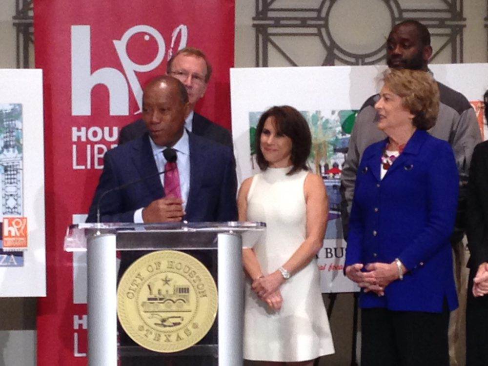 Houston Mayor Sylvester Turner, Neil Bush, Maria Bush, City Council Member and Mayor Pro Tem Ellen Cohen, and City Council Member and Vice Mayor Pro Tem Jerry Davis, attended a press conference held at City Hall to announce the project for the Barbara Bush Literacy Plaza in downtown Houston.