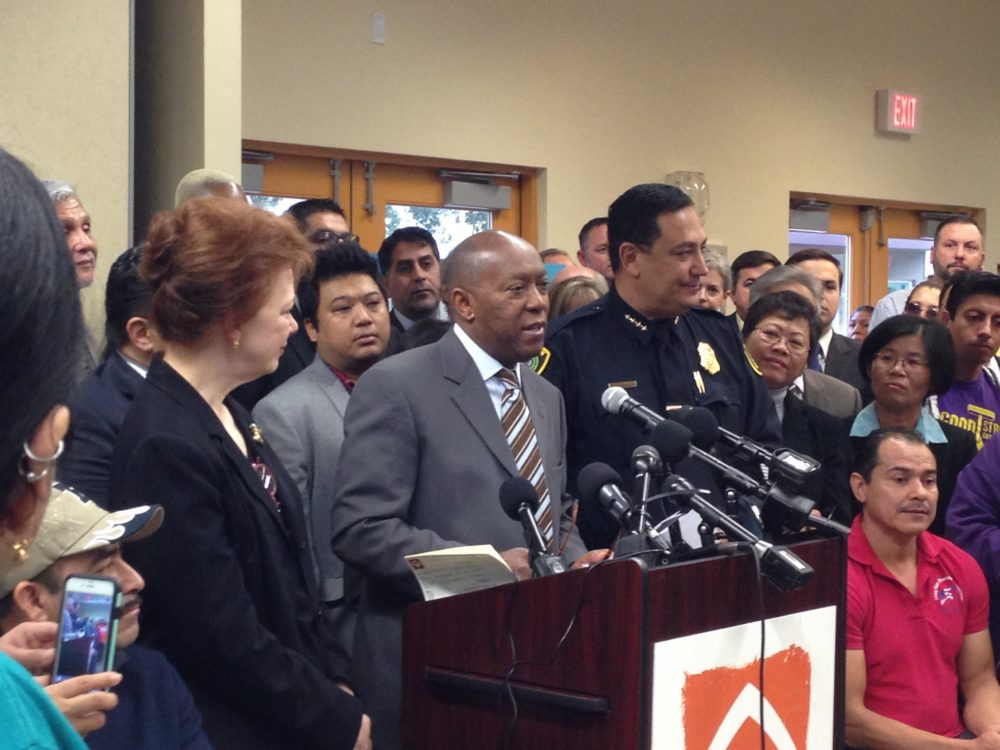 Mayor Sylvester Turner held a press conference at the Baker-Ripley Center, located in southwest Houston, to announce the creation of the Office of New Americans, which will Houston residents, especially immigrants and refugees, to access City services with more ease.
