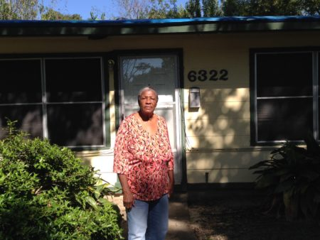 Vallia Huff, a retiree who lives in south Houston, lost her home's roof after hurricane Ike swept the region, back in 2008.