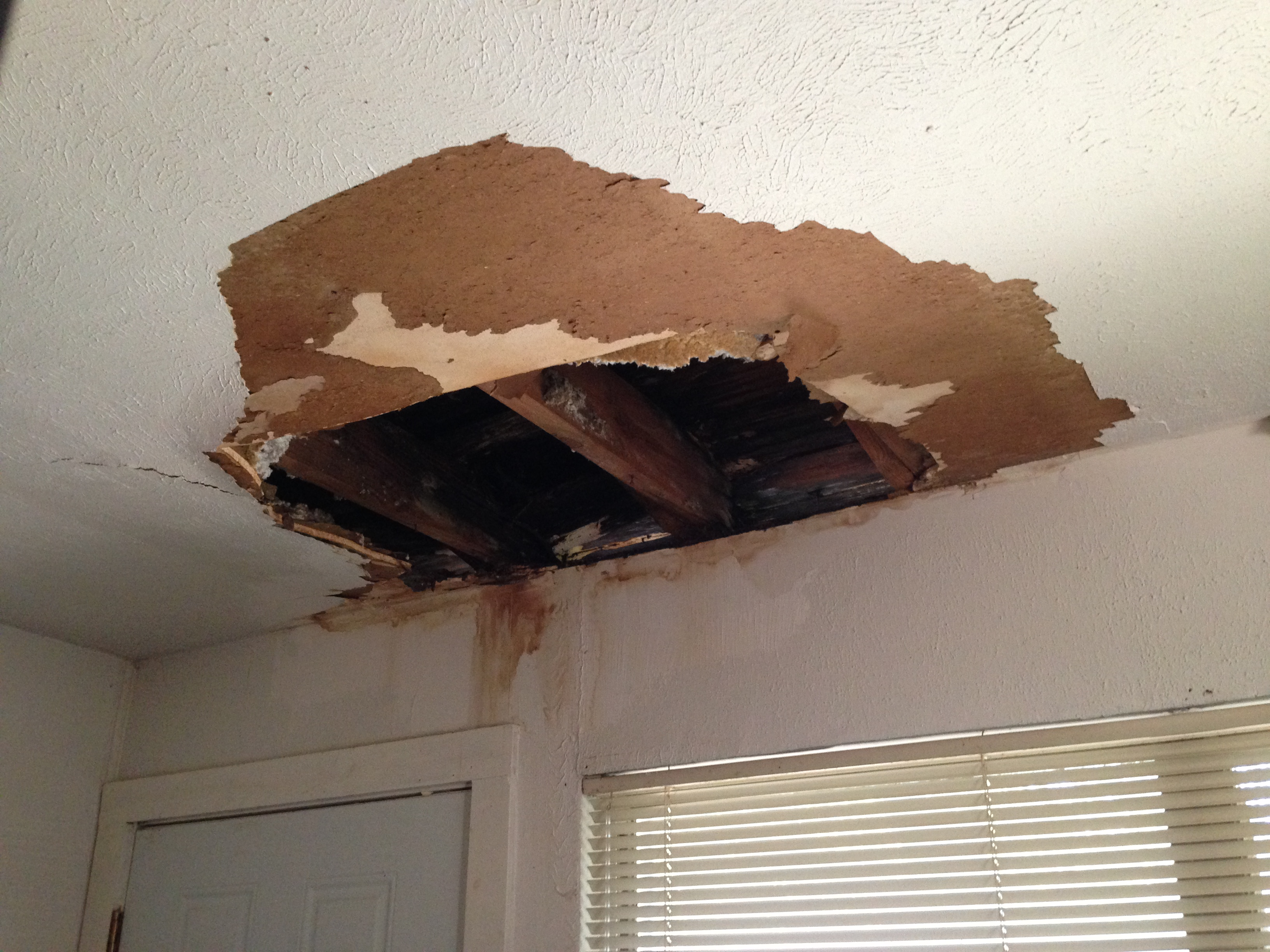 Multiple water caused stains and holes in her home's ceilings gave proof of the problem Huff was dealing with.