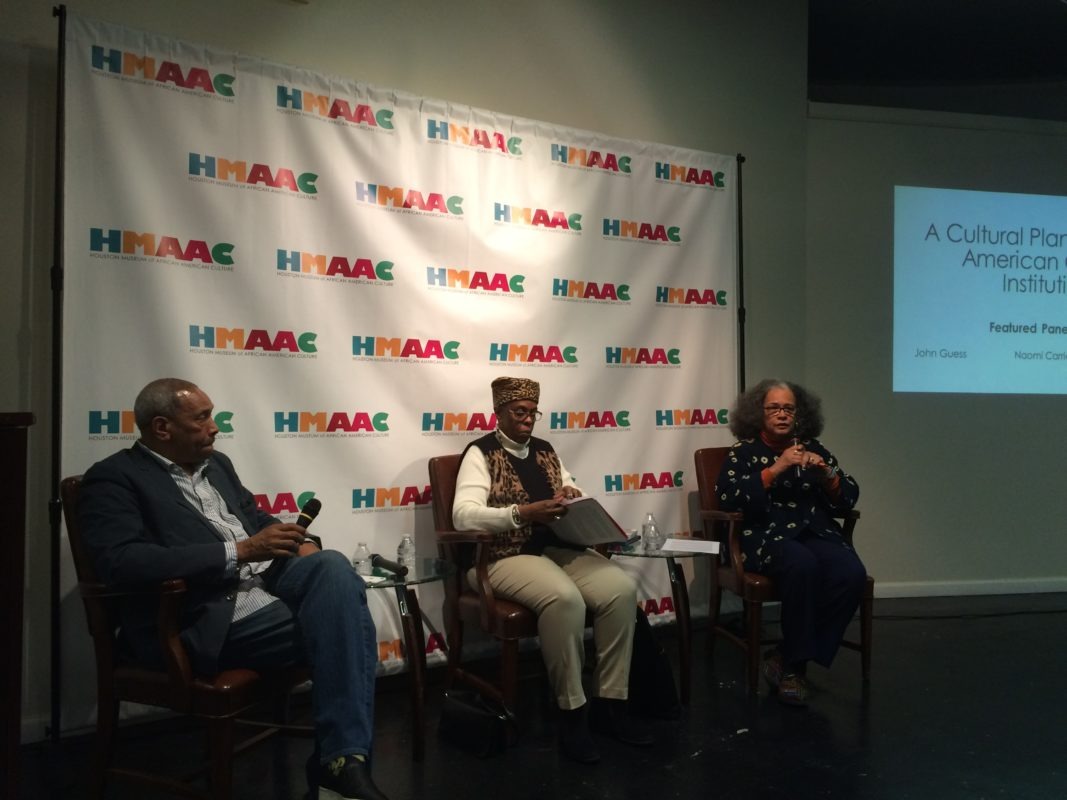 (L-R) HMAAC CEO John Guess; Naomi Carrier, Texas Center for African American Living History; Michelle Barnes, Community Artists Collective