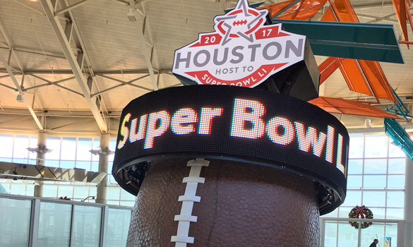 A countdown to Super Bowl 51 as seen at Houston's Hobby Airport. (Photo: Michael Hagerty, Houston Public Media)