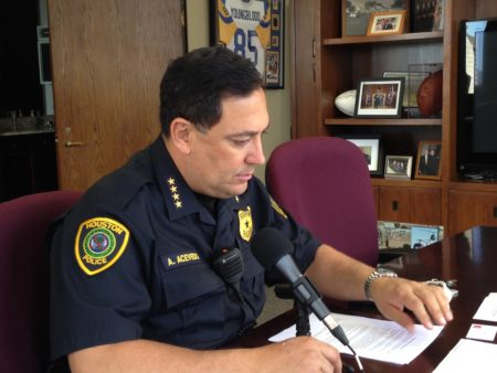 HPD chief Art Acevedo works at his office in the department's headquarters, located in downtown Houston.