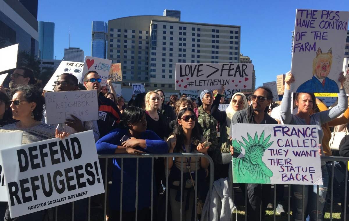 In downtown Houston on Sunday, Jan. 29, 2017, more than a thousand people gathered just steps away from the Super Bowl festivities. (Photo: Laura Isensee, Houston Public Media)