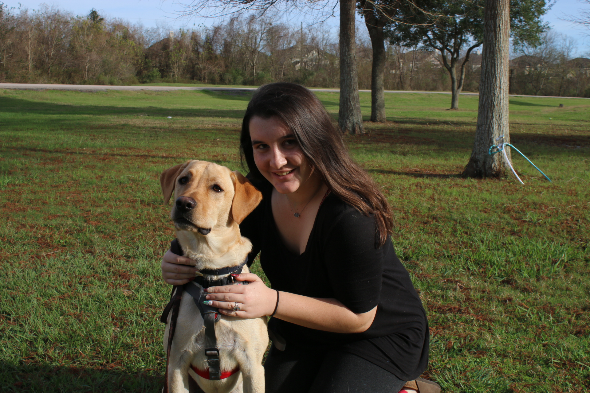 High school junior Serena Maher wanted to bring her service dog Max to school after the winter break. The Fort Bend Independent School District delayed his arrival to notify other students.