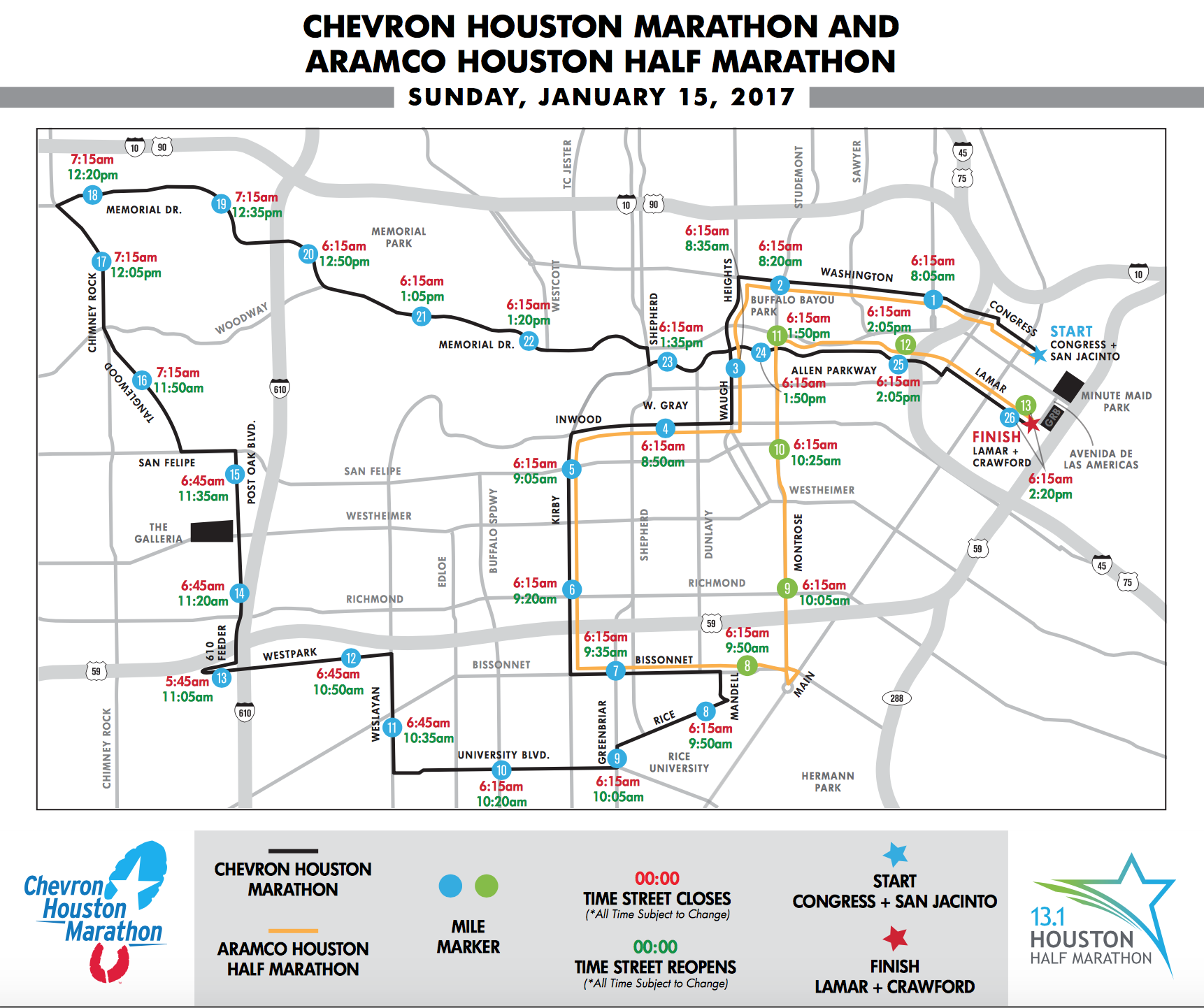 Street Closures For The Chevron Houston Marathon – Houston Public on texas road closures map, scdot road closures map, modot road closures map,