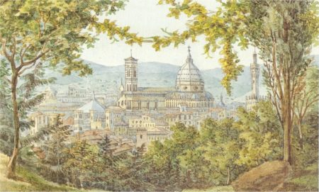 View of Florence, watercolor by Felix Mendelssohn, 1830.