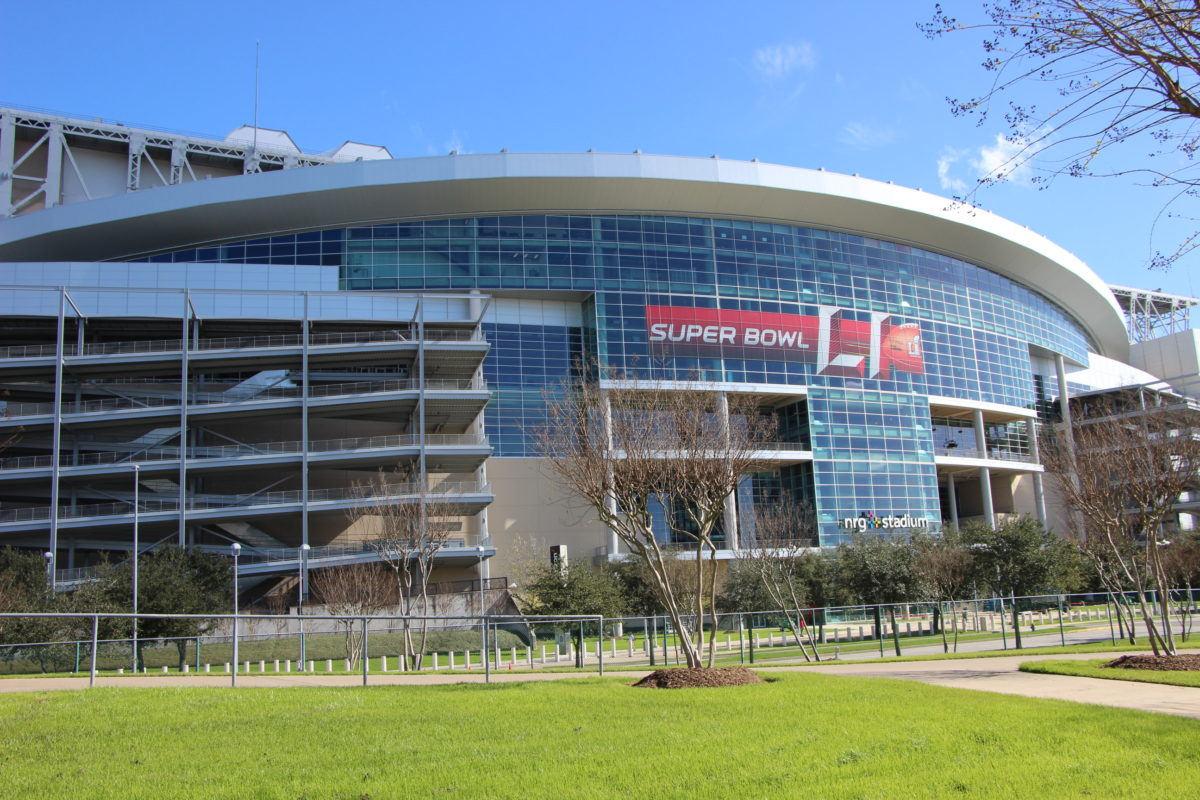 Houston's NRG Stadium adorned for Super Bowl 51. (Photo: Florian Martin, Houston Public Media)