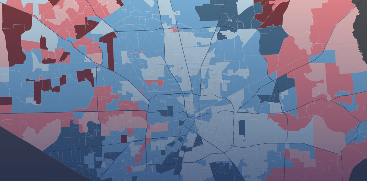 Harris County Voting Precinct Map Neighboring Precincts, Similarly Diverse But Politically Divergent