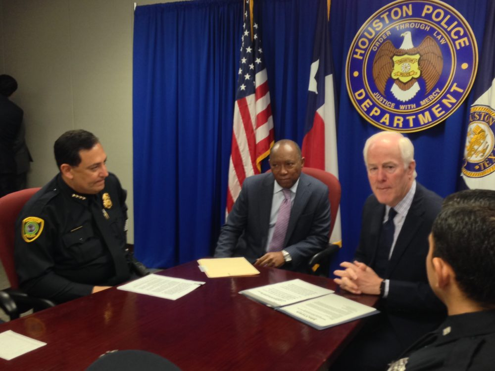 HPD Chief Art Acevedo, Houston Mayor Sylvester Turner and U.S. Senator John Cornyn met at HPD's headquarters with other staff of the department to talk about Cornyn's bill, the American Law Enforcement Heroes Act.