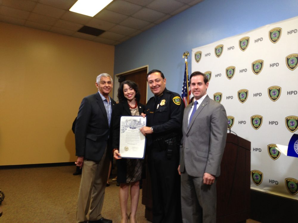 Houston City Council Member Robert Gallegos, Houston City Council Member Amanda Edwards, HPD Chief Art Acevedo and City of Houston's Controller Chris Brown, show the City's Proclamation for the 2017 edition of the March on Crime. During the press conference to announce the priorities for this year's initiative, Acevedo said he wants HPD to implement a more data driven policing model.