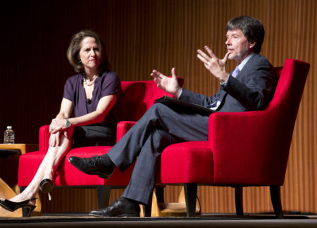 "Documentary filmmakers, Ken Burns, right, and Lynn Novick, discuss their film on the Vietnam War during ""A Conversation With Documentary Filmmakers,"" at The Vietnam War Summit held at the LBJ Presidential Library Wednesday, April 27, 2016, in Austin, Texas. Burns and Novick's PBS series, ""The Vietnam War,"" is scheduled to debut in 2017. (AP Photo/Nick Ut)"