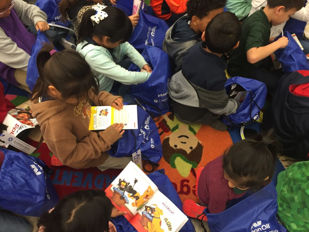More than 500 students at Browning Elementary in the Heights received six books for their home libraries from the Barbara Bush Houston Literacy Foundation.