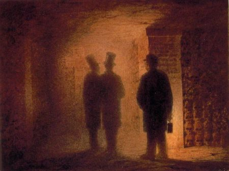 Watercolor painting of three figures in catacombs