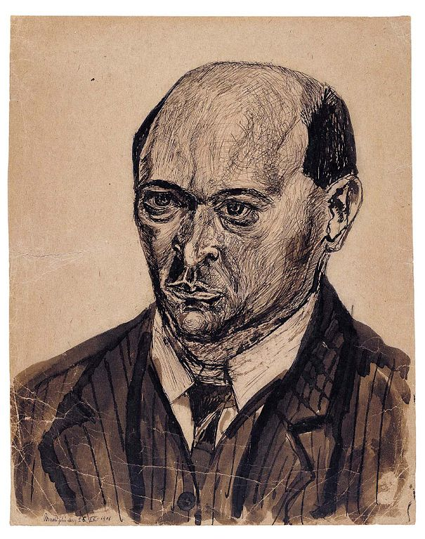 Self-portrait sketch of Arnold Schoenberg