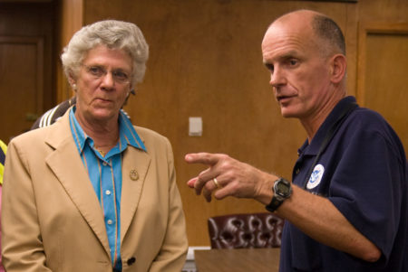 Galveston, TX, October 6, 2008 -- FEMA Branch Director Gerry Stolar meets with Galveston Mayor Lyda Ann Thomas concerning the island's recovery following Hurricane Ike. The storm caused severe wind and flood damage all along the southeast Texas coast when it made landfall on September 13th, 2008