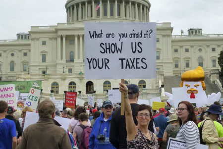 Tax March demonstrators outside the United States Capitol