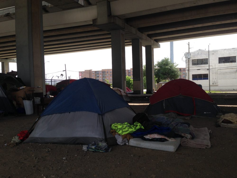 The encampment located at the intersection of Hamilton and Commerce, just around the corner from Minute Maid Park, is exactly the type of site the ordinance will go after because it has numerous tents and the people who live there use cooking devices and, in some, cases may have personal property that doesn't fit in a 3 X 3 X 3 container.
