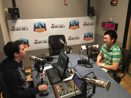Joshua Zinn (L) and Stephen Dong (R) talking in studio.
