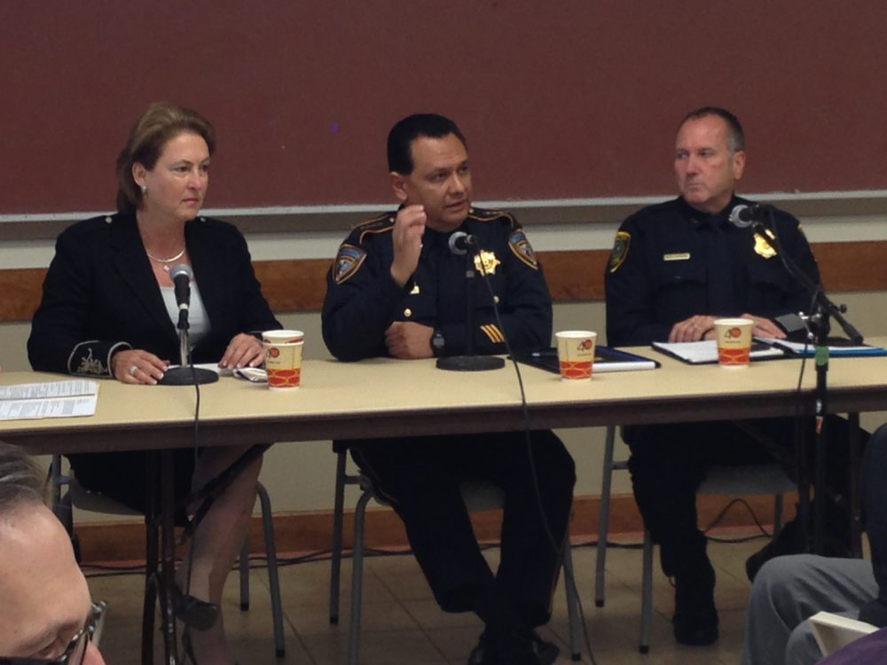 Harris County District Attorney Kim Ogg, Harris County Sheriff Ed Gonzalez and W.R. Dobbins, Assistant Chief at the Criminal Investigations Command of the Houston Police Department participated in a forum about hate crimes and other topics organized by the Anti-Defamation League in Houston.