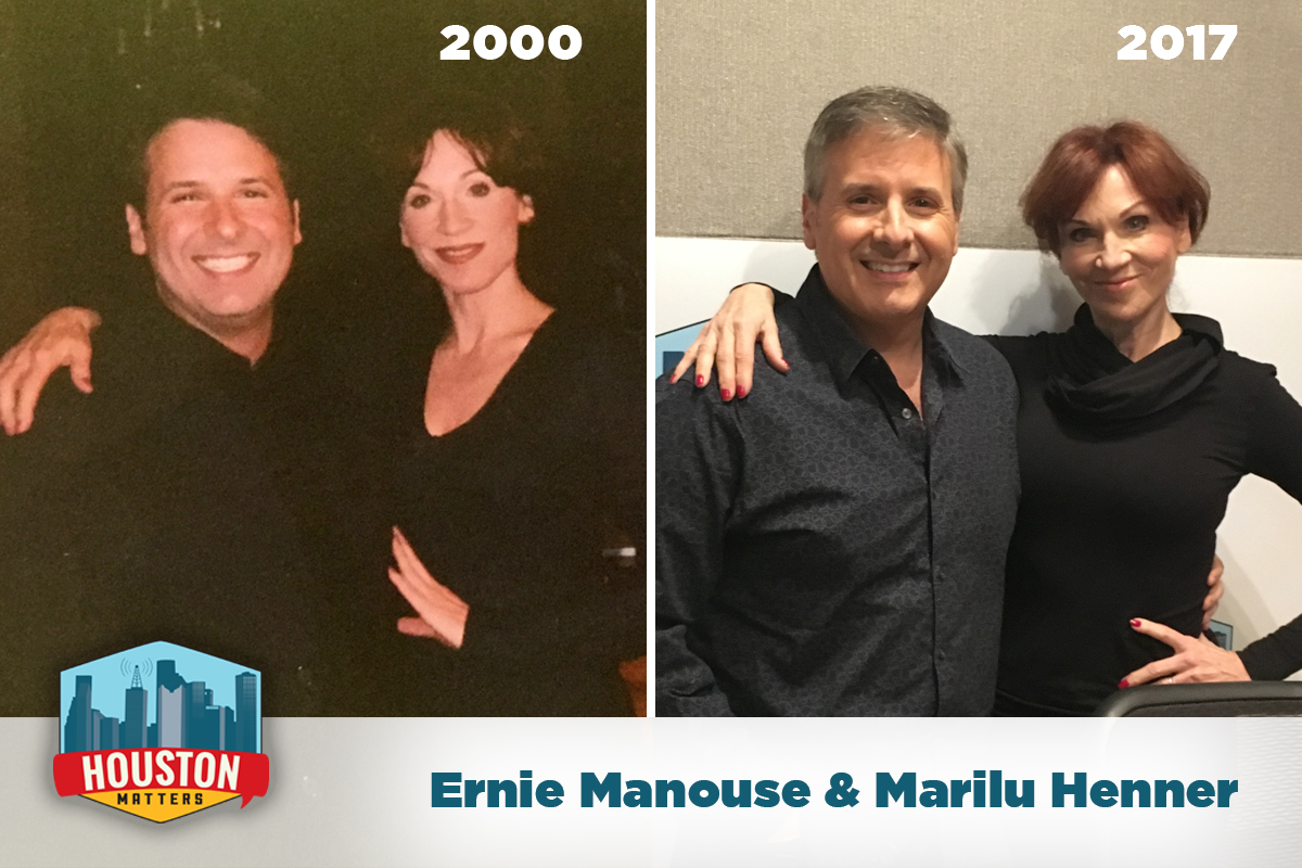 Houston Public Media's Ernie Manouse posing with actress Marilu Henner before an interview in 2000 and again in 2017.