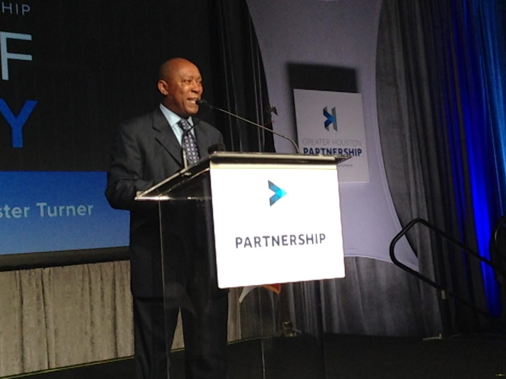 Mayor Sylvester Turner delivered his State of the City address during an event organized by the Greater Houston Partnership.