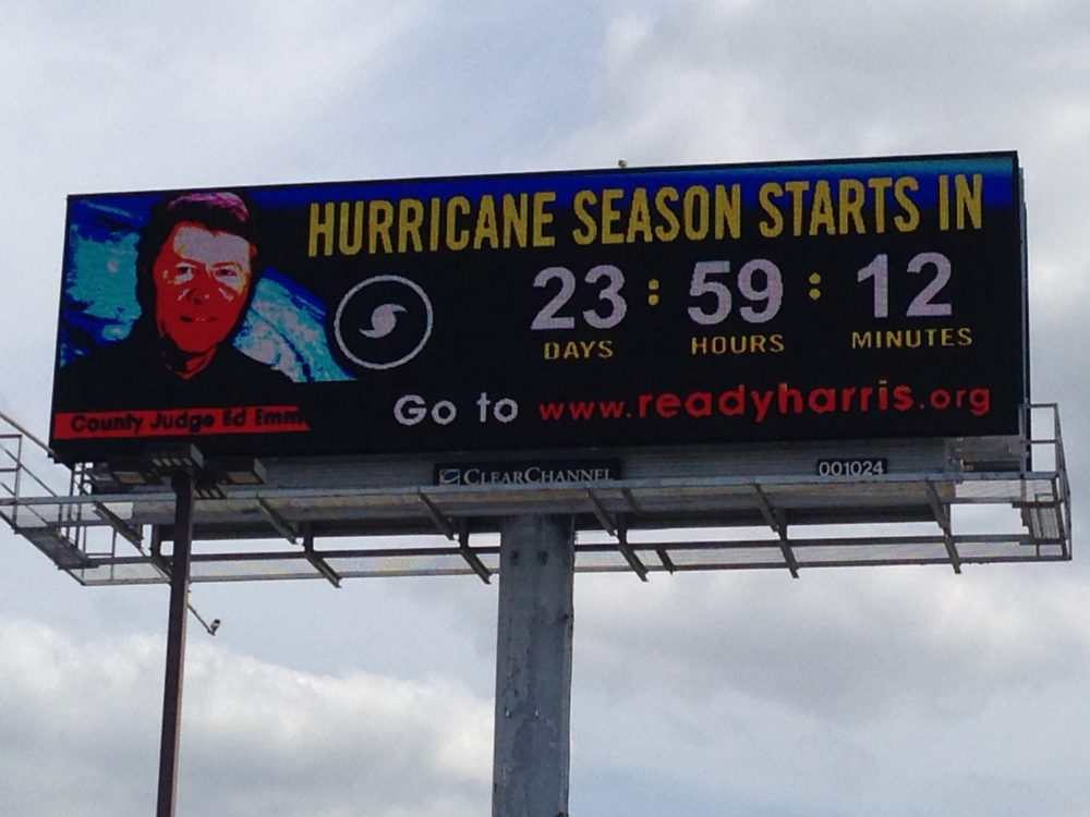 The digital billboards show a countdown to the start of hurricane season on June 1st.