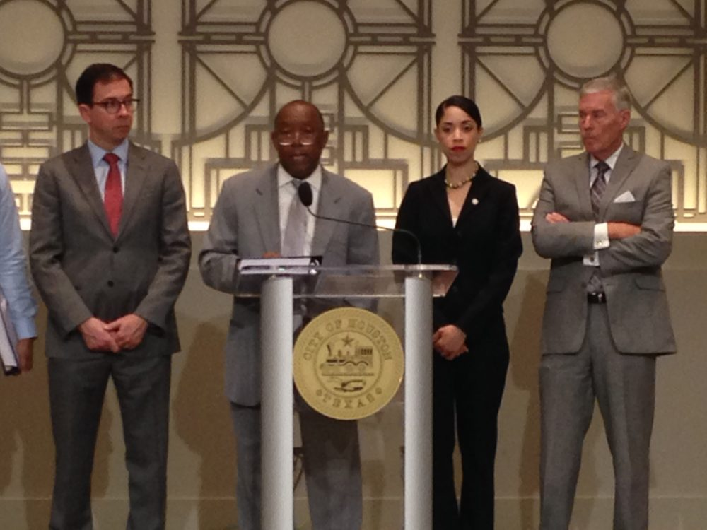 Kelly Dowe, Director of Finance for the City of Houston, Mayor Sylvester Turner, Houston City Council Member Amanda Edwards and Houston City Council Member Jack Christie attended a press conference held at City Hall where Turner presented his proposed budget for Fiscal Year 2018.