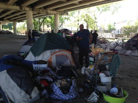 The homeless encampment located at the intersection of Highway 59 and Caroline Street is one of the biggest in Houston, but one of the main goals of the ordinance that went into effect on May 12th 2017 is to clean it up.