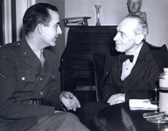 Samuel Barber, in uniform, meets with Serge Koussevitzky