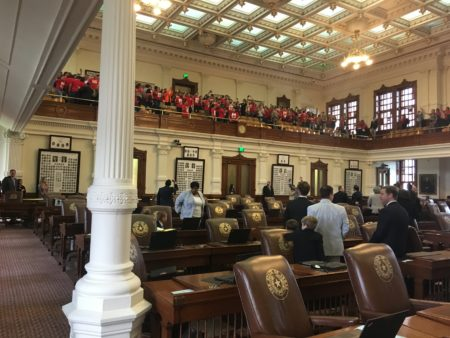 Opponents of SB4 demonstrating in House gallery.