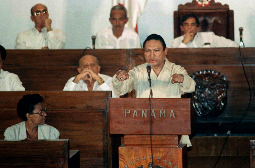 Noriega delivers a speech in Panama City on Oct. 11, 1989.