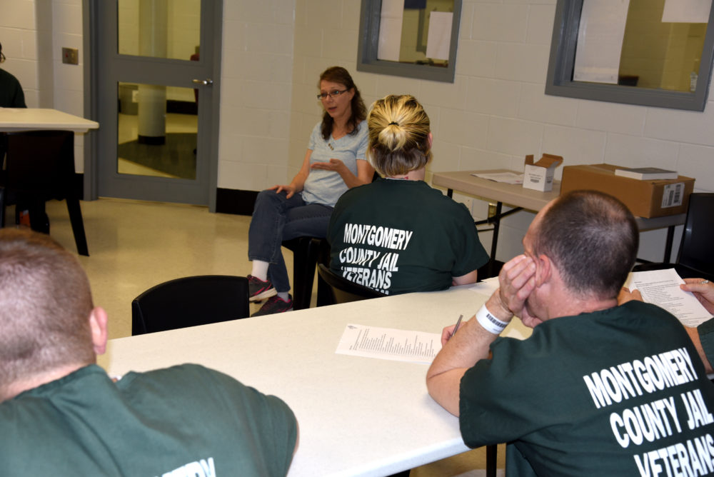 Shannon Brown leads a counseling session at the Montgomery County jail as part of the V.E.T.S. program.