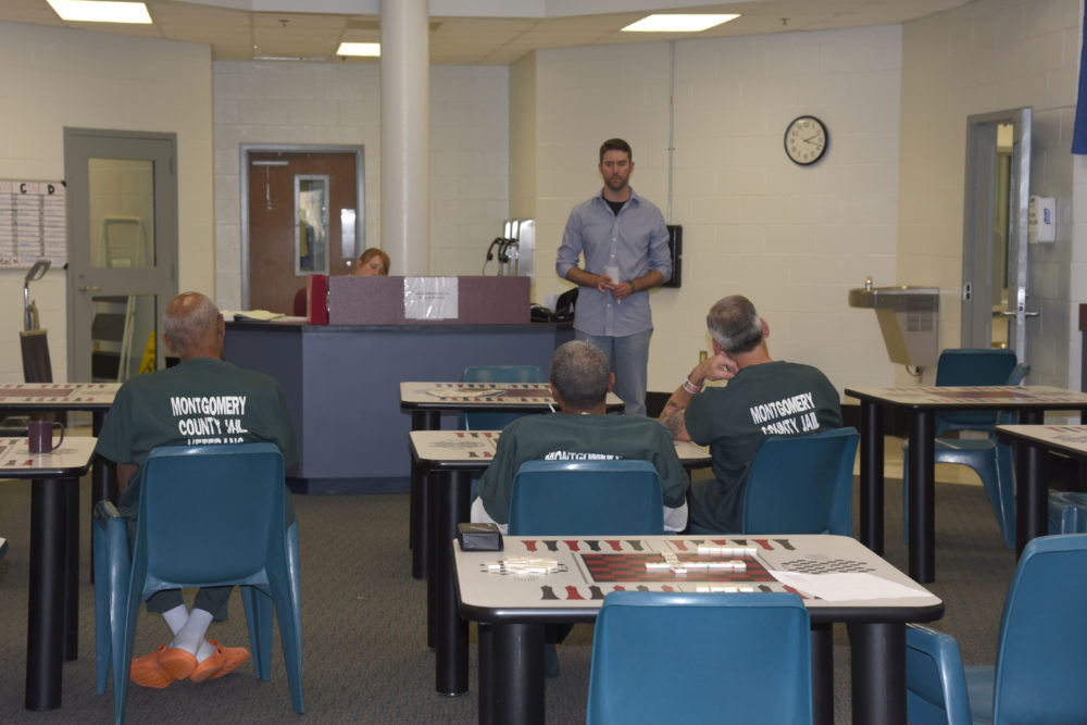 Adam Wilson leads a counseling session at the Montgomery County jail as part of the V.E.T.S. program.