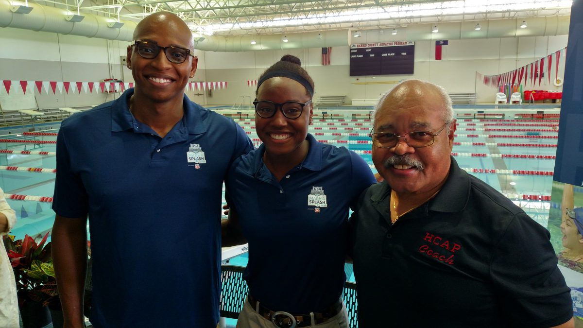 Cullen Jones, Simone Manuel, and Johnnie Means